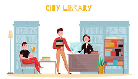 Traditional style library interior flat composition with customers reading books consulting librarian against bookshelves background vector illustration