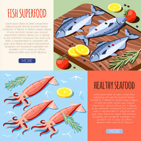 Fish superfood and healthy seafood horizontal banners with fresh fish and calamari isometric icons vector illustration