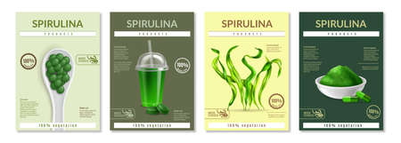Spirulina health benefits advertising 4 realistic miniposters leaflets with dried seaweed supplements powder pils vector illustration description