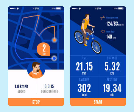 Two variants of bicycle ride mobile app design with start stop buttons and duration time distance calories speed parameters isometric vector illustration