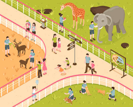 Isometric zoo composition with human characters of kids and adults with wild animals behind park fence vector illustration