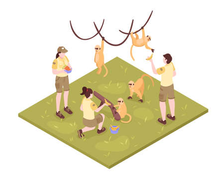 Isometric zoo workers composition on white background with tropical monkeys and group of zoo keeper characters vector illustration