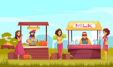 Human characters and products of gardening at farm market counters on blue sky background cartoon vector illustration
