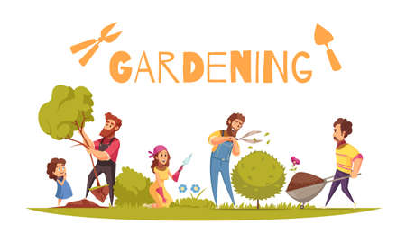 Horticulture cartoon composition adults and kid during various farming activity on white background vector illustration