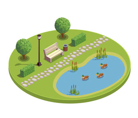 City park recreational area round isometric element with bench trees bushes pond plants reeds ducklings vector illustration