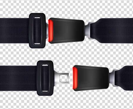 Set of realistic seat belts with metal fastener and black textured strap on transparent background vector illustration