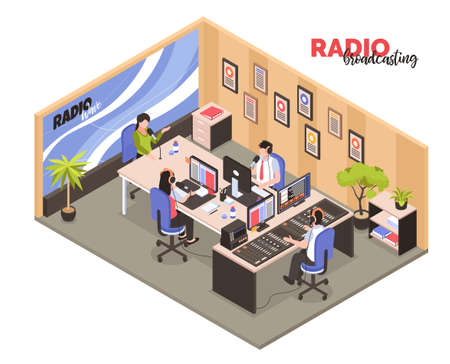 Radio broadcasting isometric vector illustration with employees in work interior participated in recording of radio programs