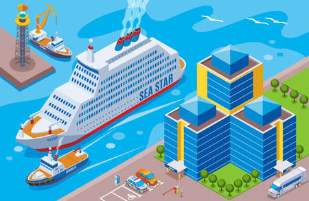 Seaport isometric colored concept with big ship named sea star sailing in the port vector illustration