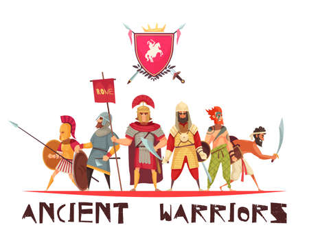 Ancient warriors concept with weapons and flags flat vector illustration