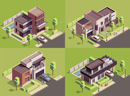 Suburbian buildings isometric 2x2 compositions set with four landmarks residential yards landscapes with modern villa houses vector illustration