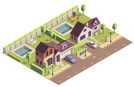 Suburbian buildings isometric composition with outdoor view of two neighbourhood areas with villas and residential yards vector illustration