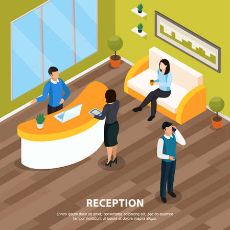 Office staff at reception isometric background with interior elements vector illustration Ilustracje wektorowe