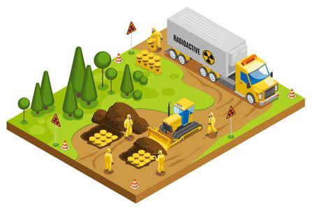 Safe radioactive toxic waste management storage transportation and disposal in underground geological repository isometric composition vector illustration Ilustração Vetorial