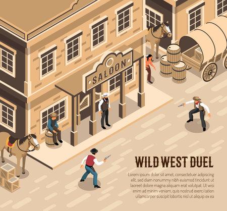 Wild west cowboys with pistols during duel sheriff near entrance of saloon isometric vector illustration Ilustracje wektorowe