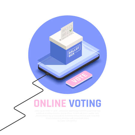 Elections and voting isometric concept with online voting symbols vector illustration