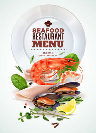 Seafood restaurant menu realistic poster with shrimp squid mussels fresh herbs spices marine cocktail ingredients vector illustration Vetores