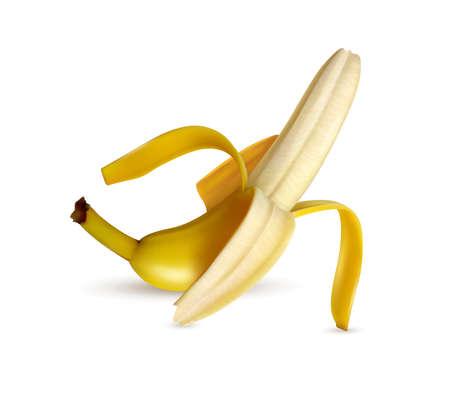 Half peeled ripe banana closeup appetizing realistic image white background light shadow vector illustration