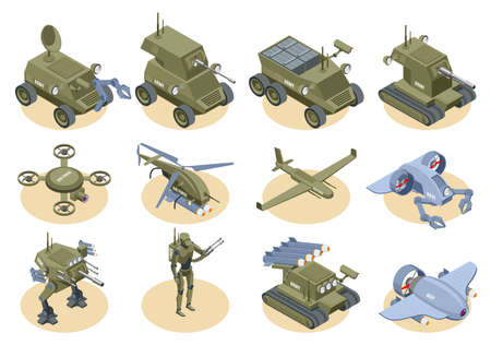 Military robots isometric icons set of underwater robot sapper air drones shooter tanks and trucks isolated vector illustration Vector Illustration
