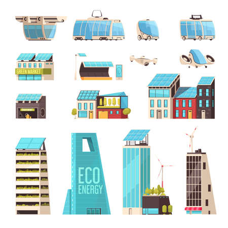 Smart city technology infrastructure intelligent transport system eco energy efficient power facilities flat elements set vector illustration