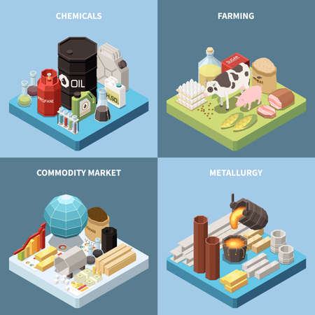 Commodity isometric 2x2 design concept with compositions of manufactured products and industrial goods images with text vector illustration Vektoros illusztráció