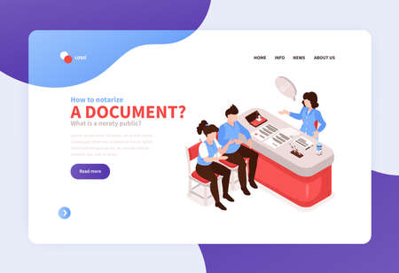 Licensed legal notary services online concept isometric website banner with notarizing document live video call vector illustration