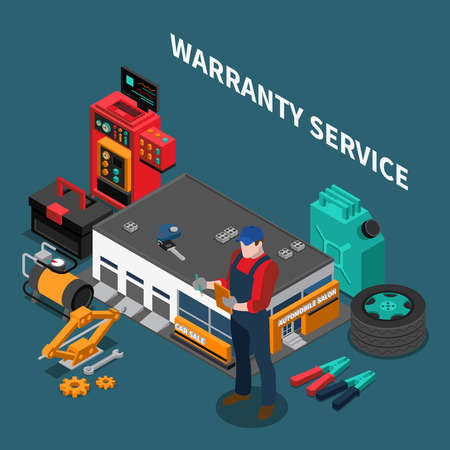Car dealership isometric composition with warranty service building and character of repairman with instruments and text vector illustration