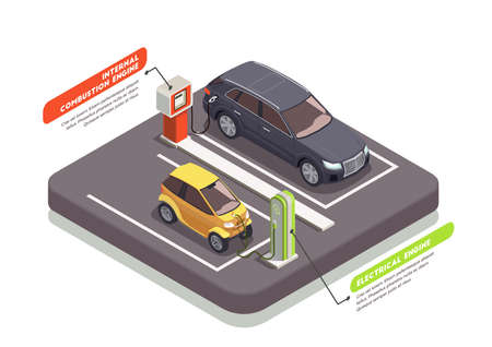 Transport isometric composition with two cars at charging and petrol stations 3d vector illustration