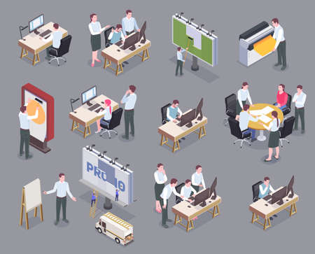 Advertising agency staff at their workplaces isometric icons set isolated on gray background 3d vector illustration