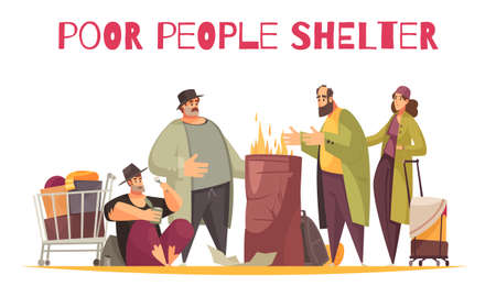 Poor homeless shelter outdoor flat comic composition with people burning fire surviving cold on street vector illustration
