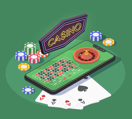 Online casino isometric composition with smartphone cards and chips for gambling games on green background 3d vector illustration