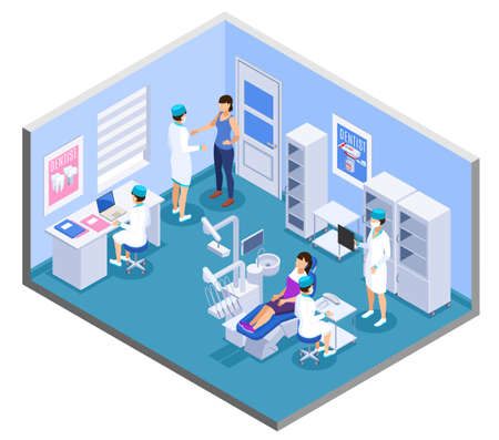 Dental clinic practice office interior isometric composition with dentist medical assistants patient treatment equipment furniture vector illustration