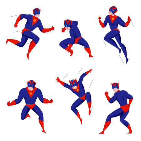 Superhero powerful super beast comics games blue bodysuit character in 6 action poses fighting flying jumping vector illustration Vettoriali