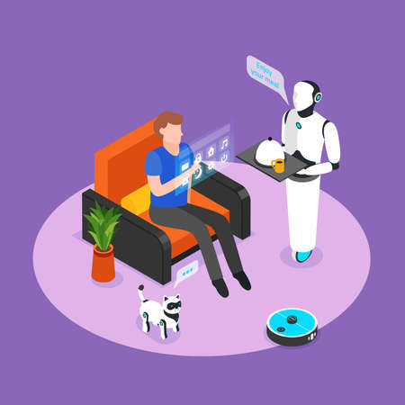 Humanoid robotic assistant controlled with holographic panel serves smart home resident meal isometric background composition vector illustration