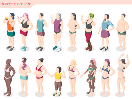 Body positivity movement and figure diversity set of male and female characters dressed in swimsuits standing in row isometric vector illustration