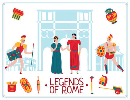 Ancient rome empire poster with isolated icons and pantheon silhouettes with text and human characters vector illustration