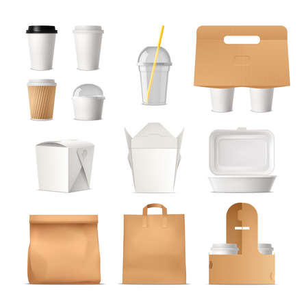 Realistic set of takeout fast food package made of paper and plastic isolated vector illustration