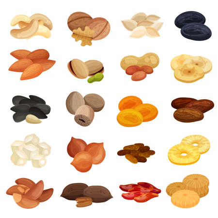 Dried fruits nuts healthy food nutrition realistic set with apricots almonds banana walnuts pistachios isolated vector illustration