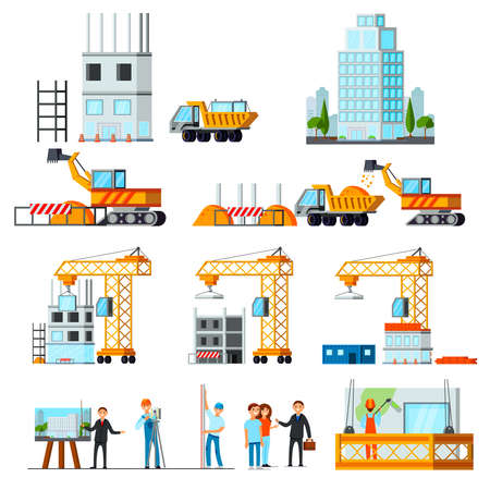 Sky scraper construction set of flat icons with stages of building process isolated vector illustration