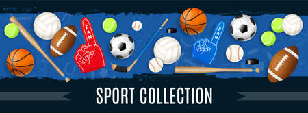 Sport inventory collection with basketball soccer rugby tennis balls puck hockey stick baseball bat realistic icons vector illustration