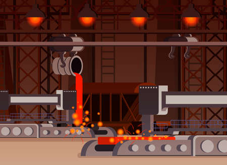 Steel production flat composition casting process in foundry work shop with automated equipment vector illustration