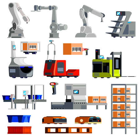 Automated warehouse equipment mechanical arms robots loaders sorting conveyor set of flat icons isolated vector illustration