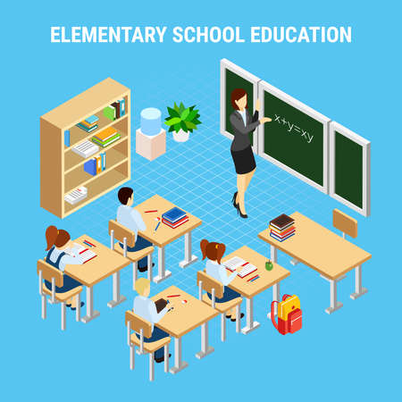 Education isometric concept with pupils of elementary school at lesson 3d vector illustration