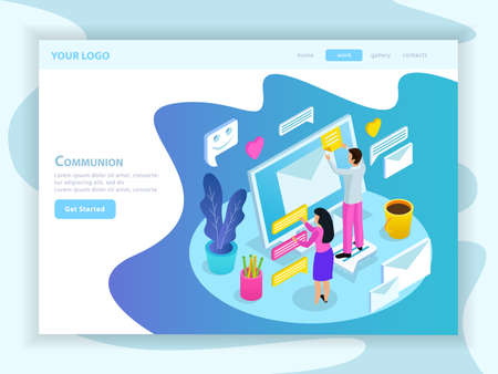Virtual communication isometric landing web page with people touching envelope and messages on computer screen vector illustration Vetores