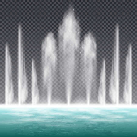 Dancing jumping jet fountain with dynamic water shape effect realistic image against transparent background vector illustration