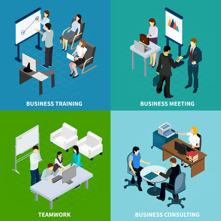 Office isometric design concept with staff training negotiation team work and business consulting isolated vector illustration
