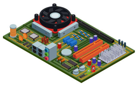 System plate for pc isometric vector illustration with semiconductor elements slots microchips capacitors diodes transistors