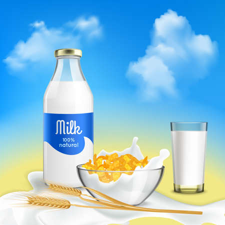 Healthy breakfast with natural milk and grain flakes bowl realistic composition against blue sky background vector illustration