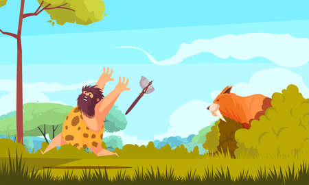 Hunting in stone age colorful poster with prehistoric man running from big animal cartoon vector illustration