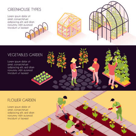 Greenhouse types 3 horizontal isometric banners set with hothouse plants vegetables and flower gardens isolated vector illustration