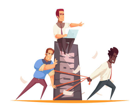 Business people design concept with team of coworkers performing hard work under guidance of boss vector illustration
